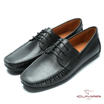 CUMAR 時尚樂活 經典綁帶帆船鞋-黑色