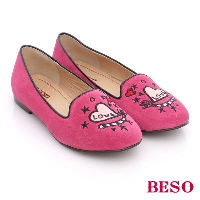 BESO 潮街頭風 Love絨面真皮樂福鞋 桃粉紅