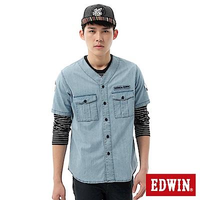 EDWIN-棒球裝造型短袖襯衫-男-石洗藍