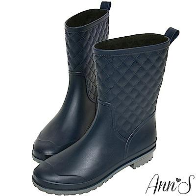 Ann'S雨季中-時髦菱格紋素色中筒雨靴-深藍