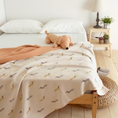 絲薇諾 米色帕比狗狗-雙面雲毯/毛毯-180×210cm