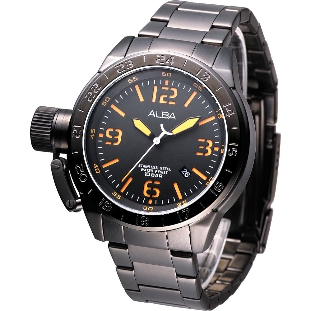 ALBA 魅力IP黑左龍頭系列鋼帶錶-鍍黑x刻度橘(AXHK21X1)/55mm 保固二年