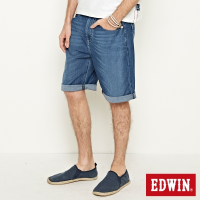 EDWIN 加大碼迦績褲JERSEY包織袋短褲-男-石洗藍