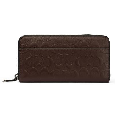 COACH-防刮皮革經典C-LOGO壓紋前夾層拉鍊長夾-咖啡色