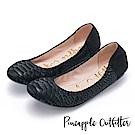 Pineapple Outfitter 輕盈時尚 蛇紋真皮鬆緊帶平底娃娃鞋-黑色