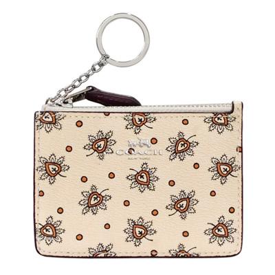 COACH米白線繪花紋PVC後卡夾鑰匙零錢包