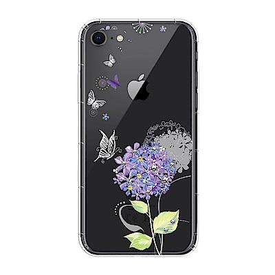【SSTAR】iPhone 7/8 彩繪水鑽空壓防摔殼-紫陽花