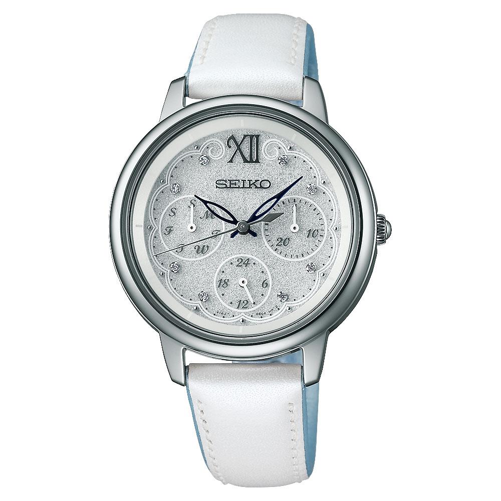 SEIKO Vivace 限量晶鑽太陽能腕錶(SWFJ005J)-銀x白/34mm