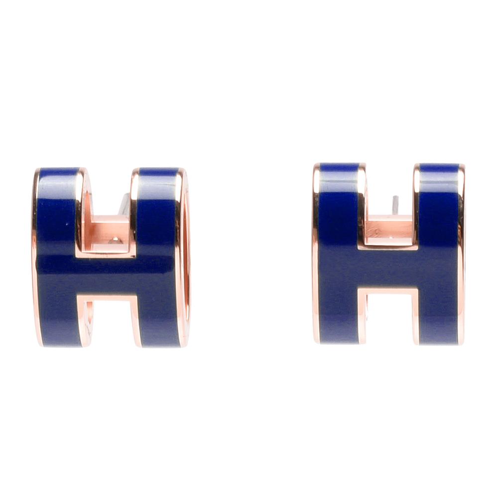 HERMES 經典POP立體H LOGO簍空橢圓穿式耳環(皇家藍X玫瑰金)