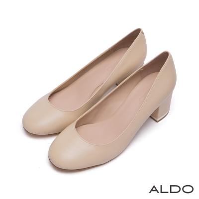 ALDO-原色真皮鞋面復古圓頭雙夾心粗跟鞋-氣質裸色