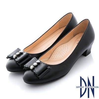 DN 氣質甜心 MIT全真皮珠飾蝴蝶結粗跟鞋 黑