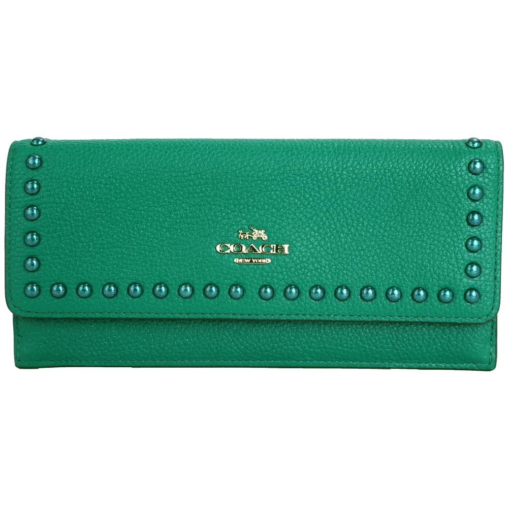 COACH鉚釘滾邊荔紋皮革釦式長夾綠色