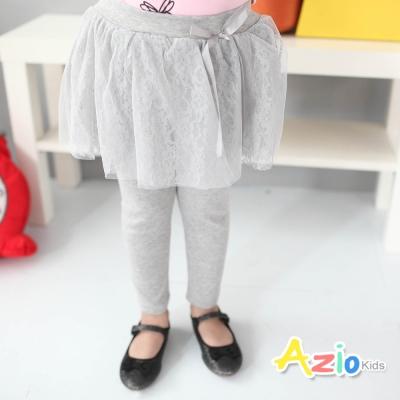 Azio Kids 童裝-內搭褲裙 蝴蝶結蕾絲內搭褲裙(灰)