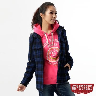 5th STREET 襯衫 格紋鋪棉長袖襯衫-女-丈青