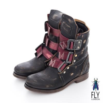 Fly London(女)★BE GOOD! 第一代 個性中筒真皮軍靴 - 黑牆灰