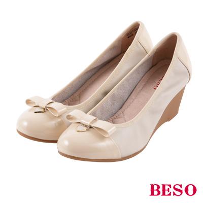 BESO 優雅甜心 全真皮蝴蝶結楔型底娃娃鞋~米