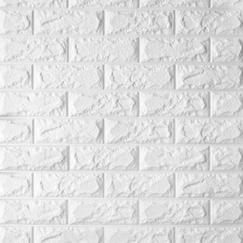 3D立體泡棉磚紋壁貼1片(純淨白)