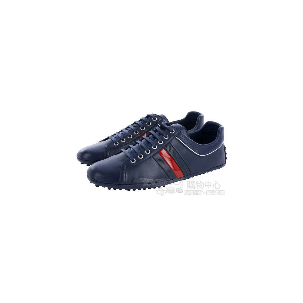 GUCCI 藍紅藍條紋飾綁帶休閒鞋(藍色)