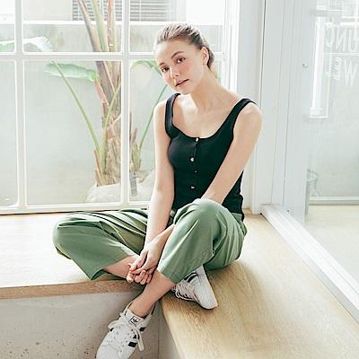 CACO-打褶直筒寬長褲(三色)-女【PSH015】