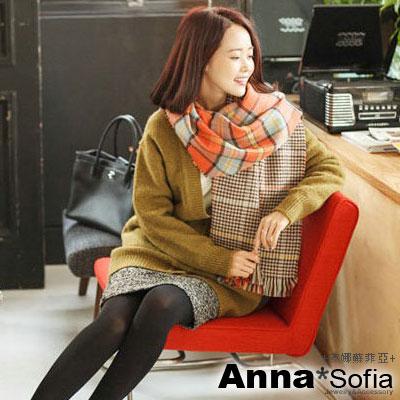 AnnaSofia-蘇格蘭雙面-毛料鬚邊圍巾-螢橘格
