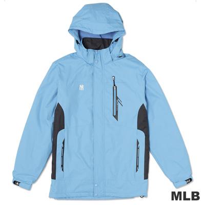 MLB-紐約洋基隊可拆帽長版風衣外套-淺藍(男)
