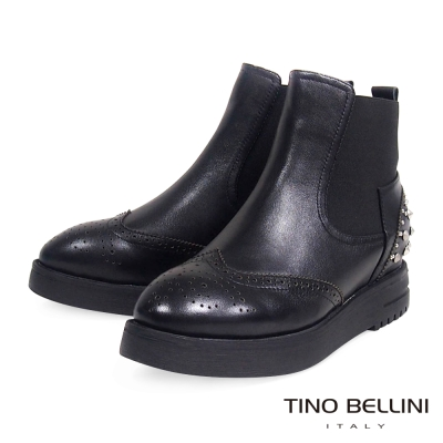 Tino Bellini 學院牛津雕花拼接搖滾個性鉚釘厚底短靴_黑