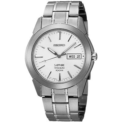 SEIKO 精工輕量鈦金屬典藏銀采時尚腕錶-白/37mm