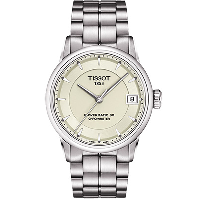 TISSOT T-Classic Luxury 天文台認證機械腕錶-象牙白/33mm T0862081126100