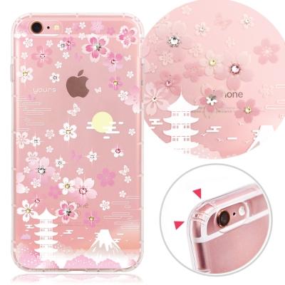 YOURS APPLE iPhone 6s+ 奧地利水晶彩繪防摔貼鑽手機殼-櫻絮