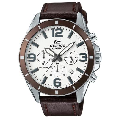 EDIFICE都會時尚魅力落帥氣指針皮帶腕錶(EFR-553L-7B)白面X咖啡/47mm