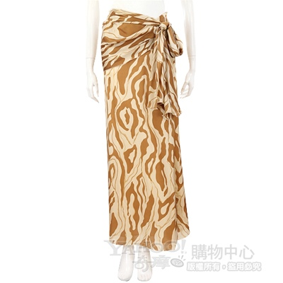 GENNY 米/駝色圖紋印花綁帶長裙