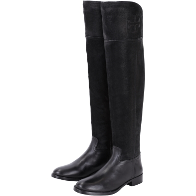 TORY BURCH SIMONE OVER 拼接設計膝上長靴(黑色)
