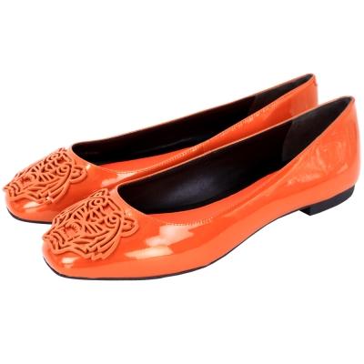 KENZO Tiger 橘色老虎浮刻漆皮平底鞋(展示品)