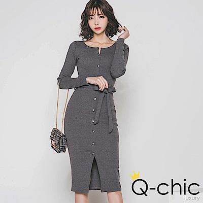 正韓 附綁帶圓領扣開襟針織洋裝 (共二色)-Q-chic