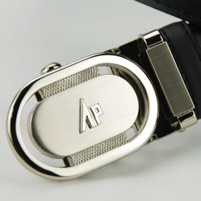 雅派Alpaca 銀色圓頭鏤空黑帶身紳士自動腰帶
