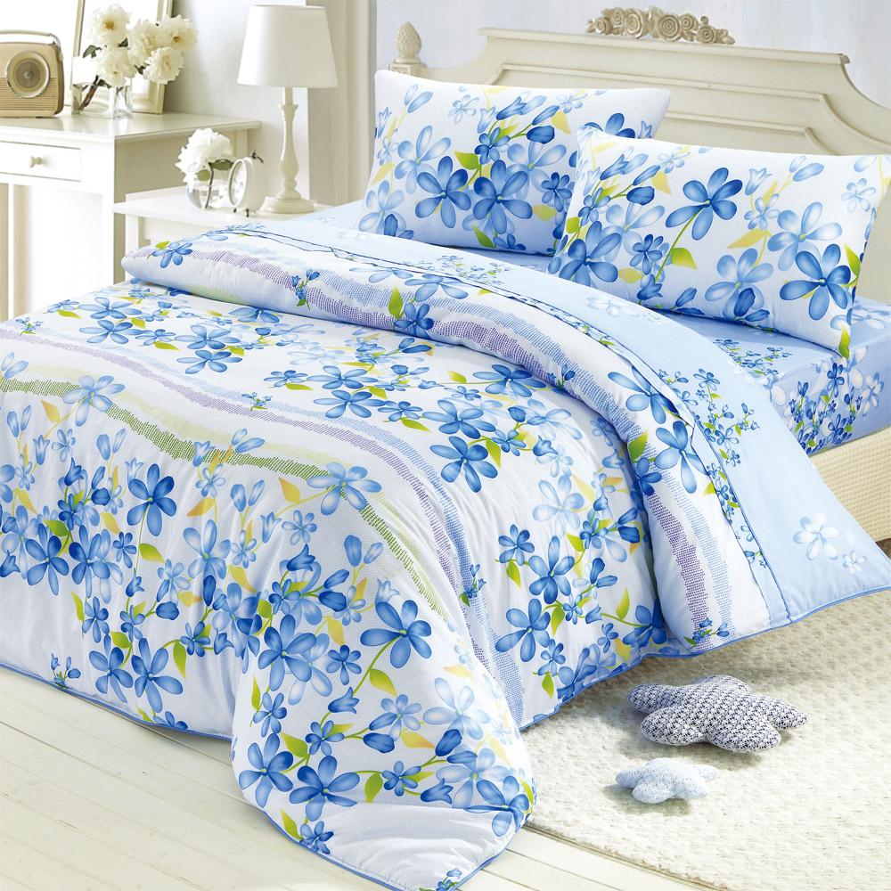 羽織美 清新花語 雙人精梳棉兩用被床包+吸濕排汗被胎 超值組