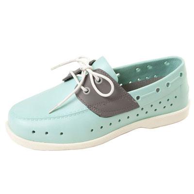 (男/女)Ponic&Co美國加州環保防水洞洞綁帶帆船鞋-水藍