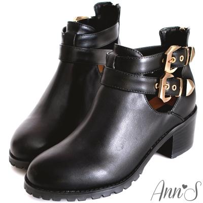 Ann'S俐落質感金釦側空韓國短靴-黑