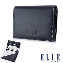 ELLE HOMM法式精品名片皮夾幾何菱型白邊點綴元素設計嚴選頭層皮、置物名片格層設計-藍
