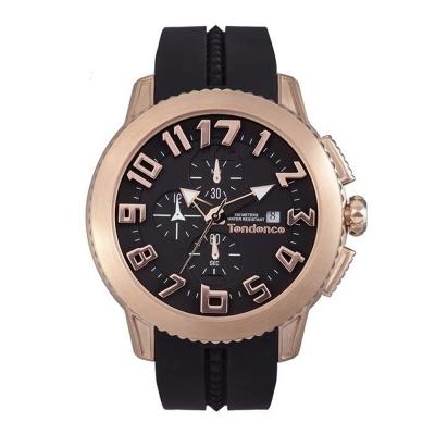 Tendence 天勢錶 圓弧系列計時碼表款-黑玫瑰金/45mm