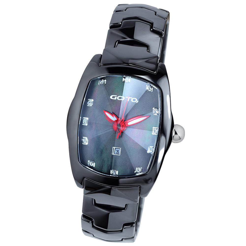 GOTO 簡約晶鑽陶瓷腕錶-黑x紅/34mm