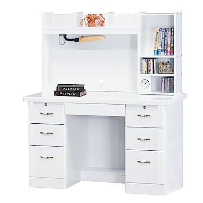 Bernice-典雅純白4.2尺書桌(上座+下座)-127x60x147cm