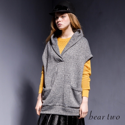 beartwo-混羊毛V領落肩寬袖連帽針織上衣-二色