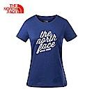 The North Face北面女款藍色透氣休閒短袖T恤