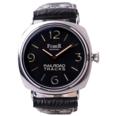 FIBER 法柏三明治夾板面盤手動上鍊機械腕錶-黑/42mm