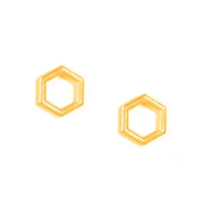Dogeared 蜂巢六角 HEXAGON 金色耳環 附原廠盒