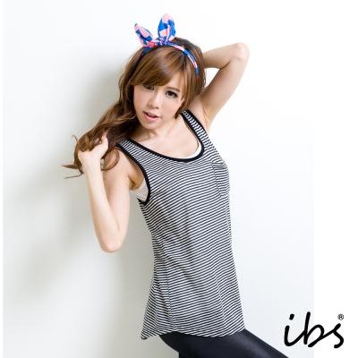 IBS 條紋坦克口袋背心-黑-女