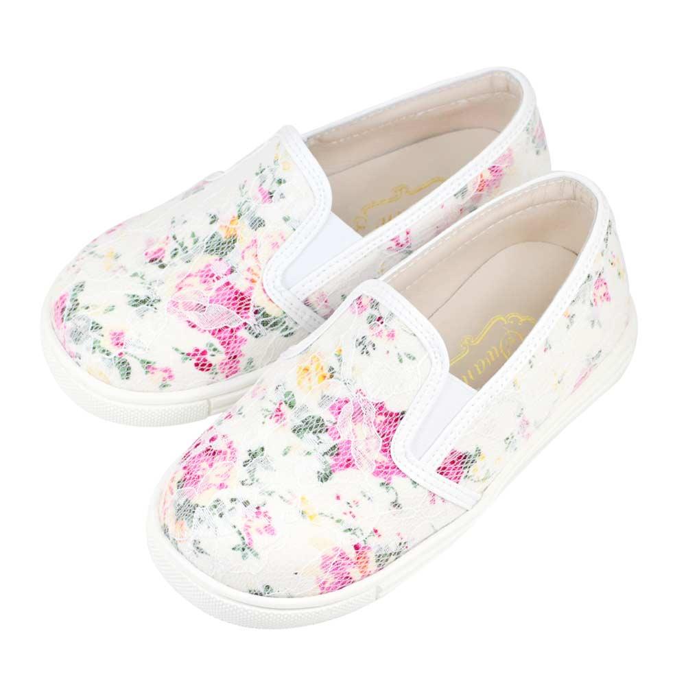 Swan天鵝童鞋-蕾絲花布親子休閒鞋-寶貝款 3806-白