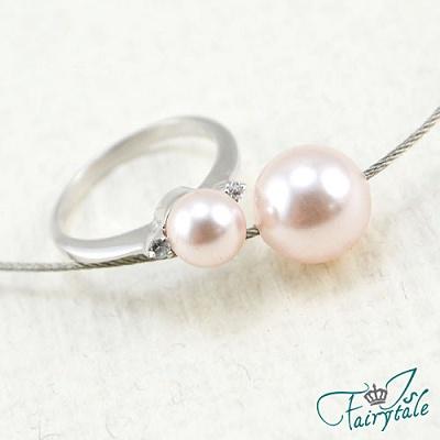 iSFairytale伊飾童話 純色明眸 粉色珍珠項鍊戒指組