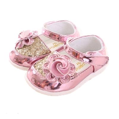 玫瑰 亮蔥 魔鬼氈設計公主鞋 粉金 sh9997